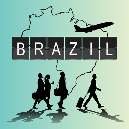 navigational light: Infographic silhouette people in the airport for brazil flight