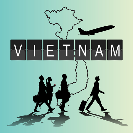 navigational light: Infographic silhouette people in the airport for Vietnam flight
