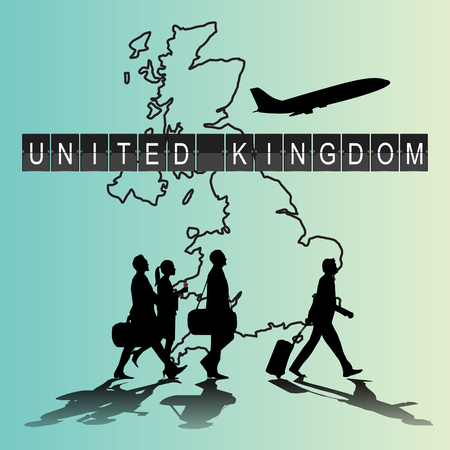flight crew: Infographic silhouette people in the airport for United Kingdom flight Illustration