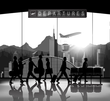 flight crew: Blank and white Silhouette people with airport background
