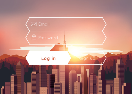 city scene: Login box with city sunset background