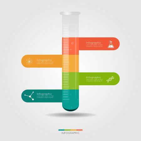 Bombilla Química Infografía para el concepto de la ciencia.