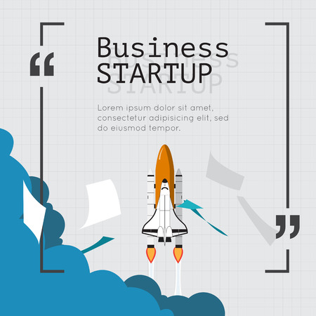 smart goals: Space Shuttle for business start up concept. Illustration