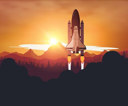 Space Shuttle met zonsondergang op de achtergrond Vector Illustratie