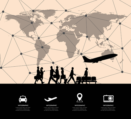 flight crew: Modern Infographic with connection line