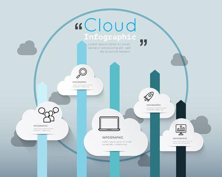 cloud technology: Modern infographic for cloud technology