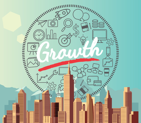 city background: Growth on city and mountain background Illustration