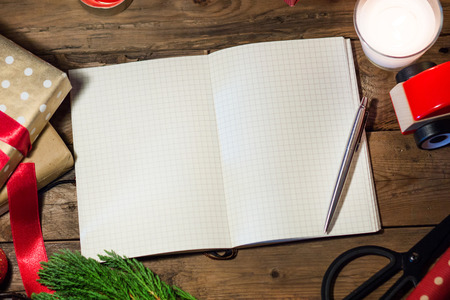 copyspace with christmas book  on wood table. Stock Photo