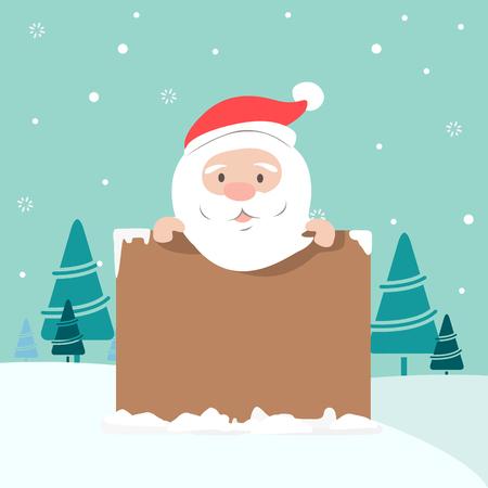 Christmas illustration of Santa holding board