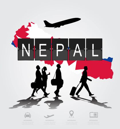 navigational light: Infographic silhouette people in the airport for nepal flight Illustration