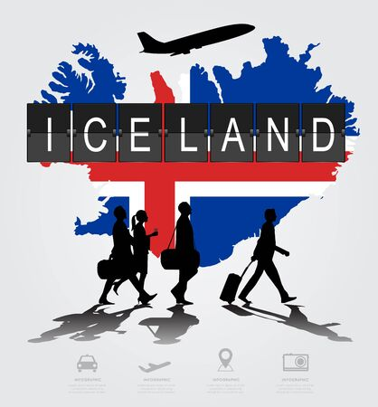 Infographic silhouette people in the airport for Iceland flight Illustration