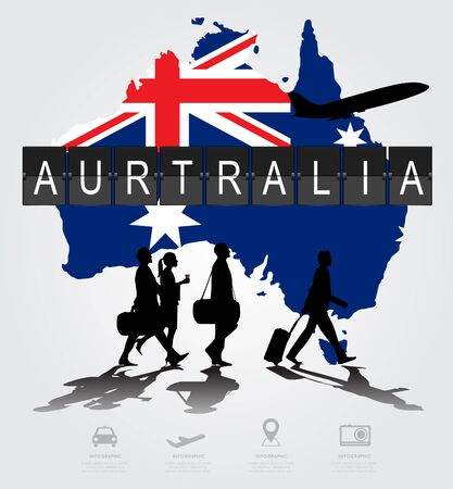 navigational light: Infographic silhouette people in the airport for australia flight