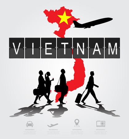 information medium: Infographic silhouette people in the airport for vietnam flight