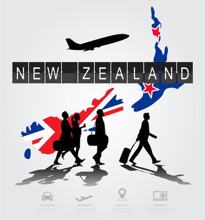 information medium: Infographic silhouette people in the airport for new zealand flight
