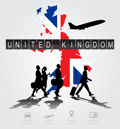 navigational light: Infographic silhouette people in the airport for United Kingdom flight Illustration