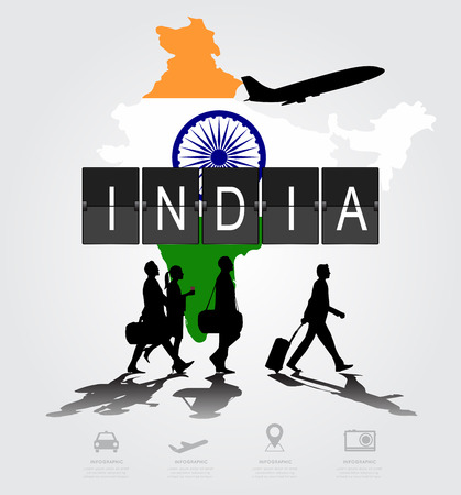 Infographic silhouette people in the airport for india flight Illustration