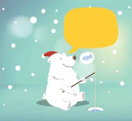 Polar bear with speech bubble.