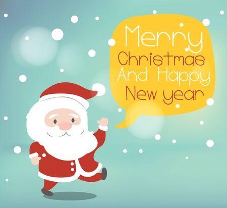 Santa Claus witt yellow speech bubble. Illustration