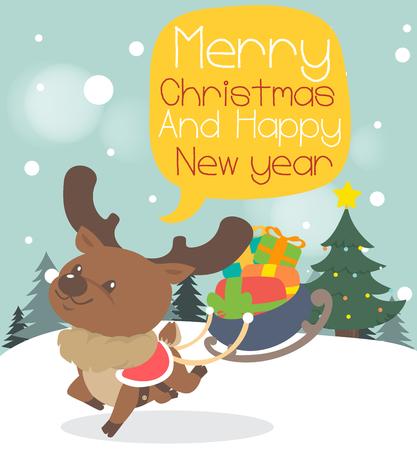 santaclause: Merry christmas greeting card reindeer. Illustration