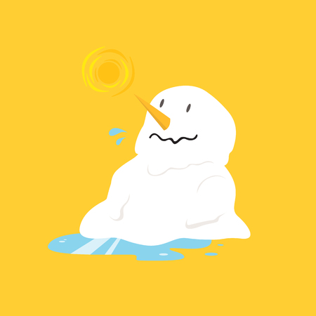 Snowman melting on yellow background
