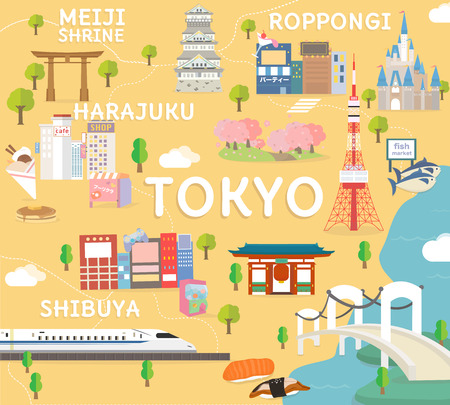 Tokyo travel map in flat illustration. Illustration