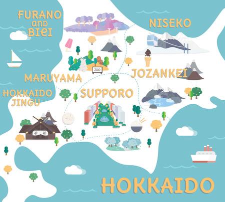 평면 그림에서 홋카이도 여행지도입니다. 일러스트
