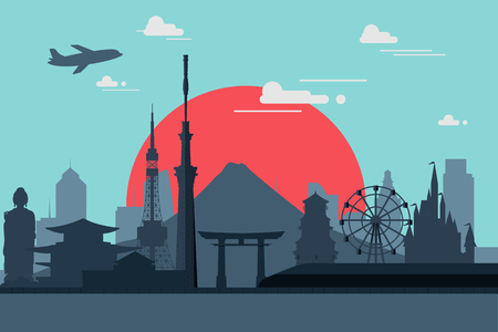 Silhouette illustration of Tokyo city in Japan.Japan landmarks Famous buildings. Illustration