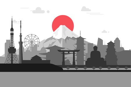 Silhouet illustratie van Tokyo de stad in Japan.Japan oriëntatiepunten beroemde gebouwen.