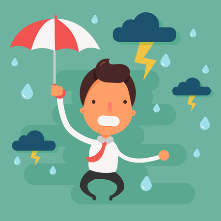 bad weather: Stressed businessman with black cloud rain above head.