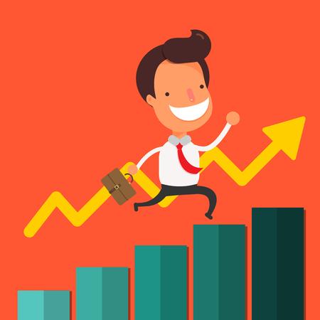 businessman walking: Businessman walking up business graph.