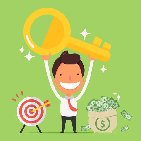 Businessman holding golden key secret of success.