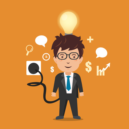 energy needs: Businessman with full battery.Vector illustration.