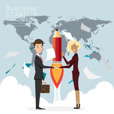 Businessman handshake with worldmap for start up business. Illustration