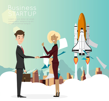 mapa de procesos: Businessman handshake with city background for start up business. Vectores
