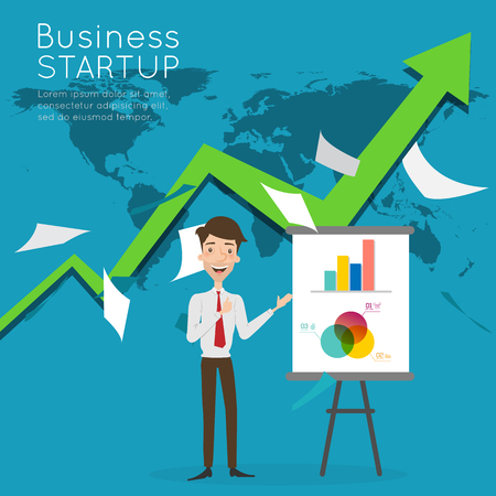 businessman present: Businessman present about business start up.
