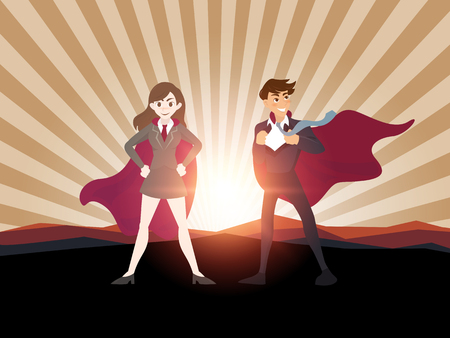 Man and women superhero with sunlight.