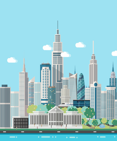 Smart city skyline vector illustration.