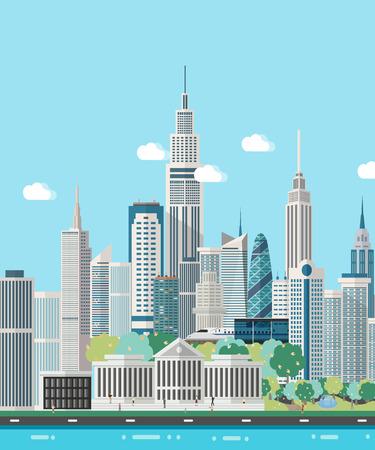 Slimme stad skyline vectorillustratie.