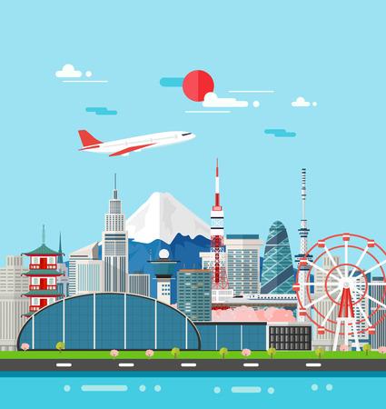 일본 건물은 장소와 landmark.Vector 그림 여행.