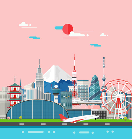 Japan buildings travel place and landmark.Vector Illustration.