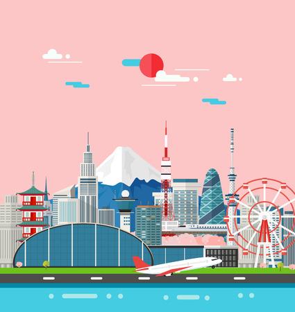 Japan gebouwen reizen plaats en landmark.Vector Illustration.