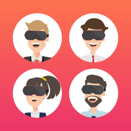 cyber woman: Businessman Use Virtual Reality Web Page Concept. Illustration
