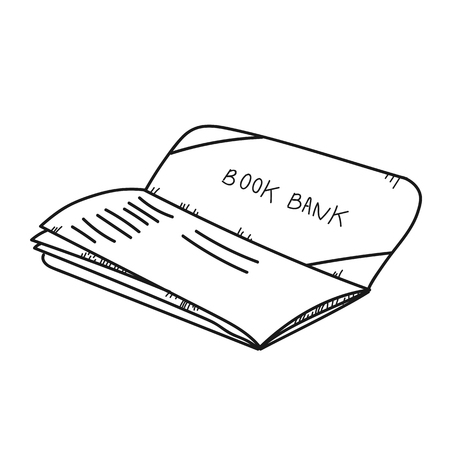 bank statement: Freehand drawing illustration book bank.