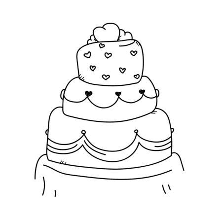 wedding cake: Freehand drawing illustration wedding cake