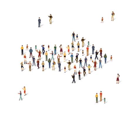 Groep mensen in de vorm van een pijl.