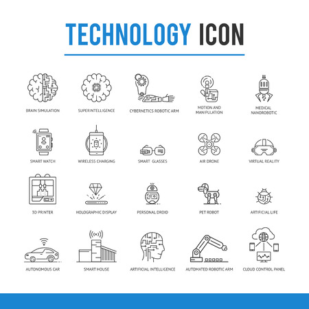 Artificial intelligence technology icon pack.