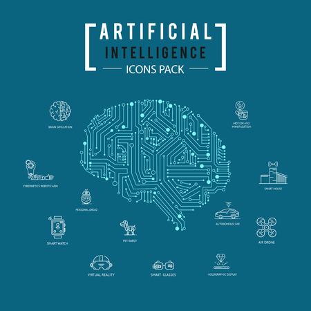 뇌 인공 지능 아이콘 팩.