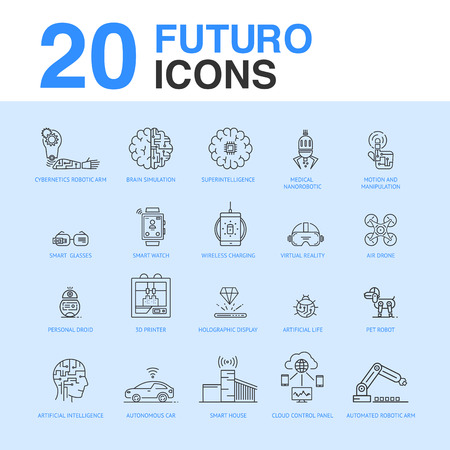 20 Artificial intelligence icon pack.