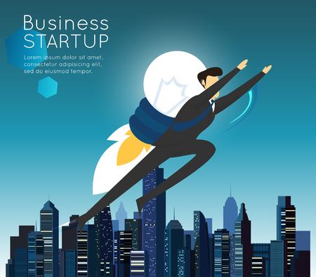 비즈니스에 빨리 도착 사업가 슈퍼 히어로가 시작.