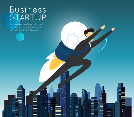 Businessman superhero flying fast for business start up.